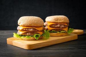 pork hamburger or pork burger with cheese photo