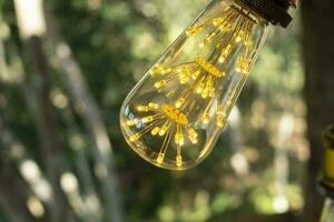 classic retro incandescent led electric lamp warm white on blur background, Vintage light bulb photo