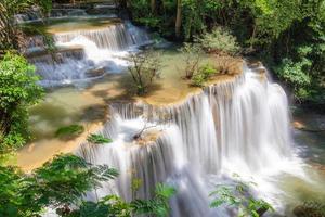 Viewpoint of Huay Mae Khamin waterfall in fourth floor on rainy season at Srinakarin national park photo