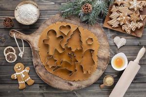 Baking Christmas cookies at home photo