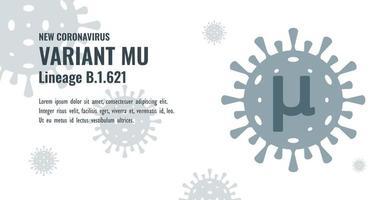 New Coronavirus or SARS-CoV-2 Variant Mu B.1.621 Illustration vector