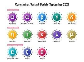 Set of New Coronavirus or SARS-CoV-2 Variant Colorful Illustration vector