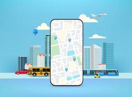 Smartphone with city map and pointers. Map app concept vector