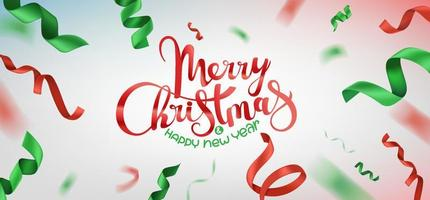 Green and red silk ribbons. Christmas banner vector