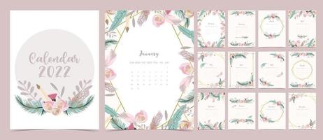 2022 table calendar week start on Sunday with feather and flower that use for vertical digital and printable A4 A5 size vector