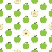 patrón sin costuras con manzanas verdes frescas vector