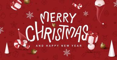 Merry Christmas banner with cute gnome and festive decoration for christmas vector