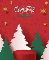 Merry Christmas banner with product display cylindrical shape and christmas tree paper cut vector