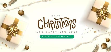 Merry Christmas sale banner template with golden festive decoration vector