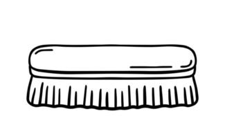 Wooden scrub brush for cleaning isolated on white background. Vector hand-drawn illustration in doodle style. Suitable for your projects, decorations, logo, various designs.