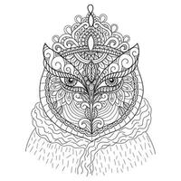 Queen Owl hand drawn for adult coloring book vector