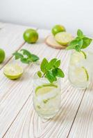 iced lime soda with mint photo