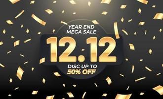 Big sale banner with gold element on 3d realistic fabric texture vector