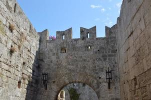 Architecture of Old Town on Rhodos in Greece photo