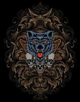illustration  angry wolf and skull head with antique ornament vector