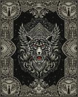 illustration wolf head with antique engraving ornament vector
