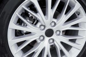Car rim detail. Car wheel. selective focus photo