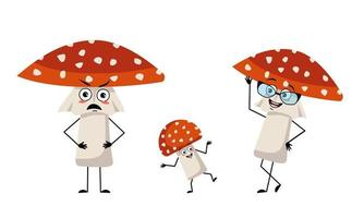 Family of cute amanita character with joyful emotions, smile face, happy eyes, arms and legs. Mom is happy, strict dad and the child is dancing. Fly Agaric mushroom with a red hat and white dots vector