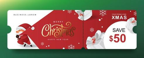 Merry Christmas Gift promotion Coupon banner with cute Santa Claus and festive decoration vector