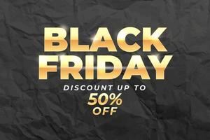 Black friday sale banner discount up to 50 percent off vector