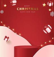 Merry Christmas banner with product display cylindrical shape vector