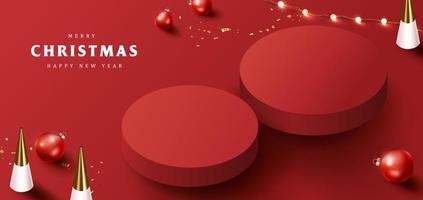 Merry Christmas banner with product display cylindrical shape and festive decoration vector