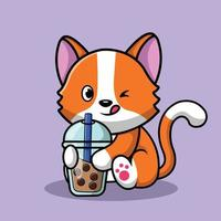Cute Cat Drink Milk Tea Boba vector