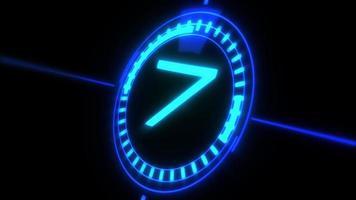 Compte à rebours lumineux néon numérique de 10 à 0 video