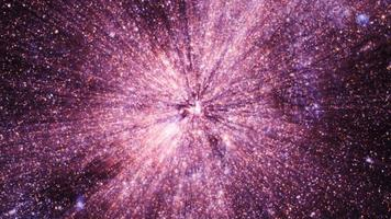 Traveling through glittering star fields in space with big bang supernova bursts light. video
