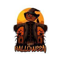halloween scarecrow  happy halloween day vector