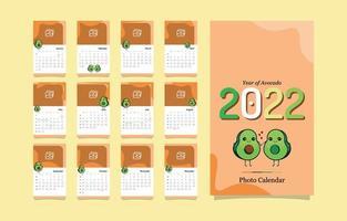 Calendar Template 2022 with Avacado Kawaii vector