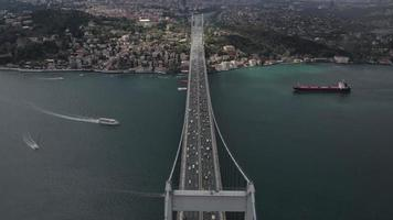 Istanbul Strait and  Bosphorus Bridge Top View video