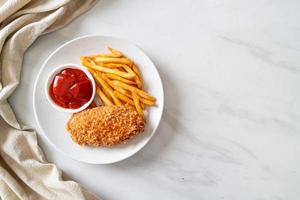 fried chicken breast fillet steak with french fries photo