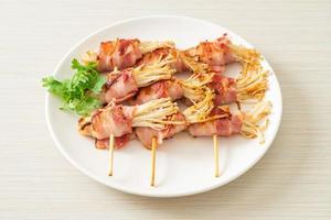 Bacon Wrapped Golden Needle Mushroom photo