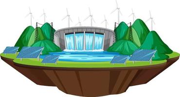 Hydro Power Plants generate electricity with free energy banner vector