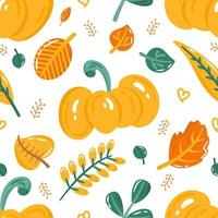 Autumn seamless pattern with cute colorful pumpkin and leaves.  Cartoon fall elements for fabric, textile, wrapping paper, wallpaper. vector