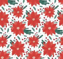 Beautiful winter season floral seamless pattern background with poinsettia - red Christmas star flower, fir tree branch and holly berry mistletoe. Cute hand drawn New Year backdrop vector