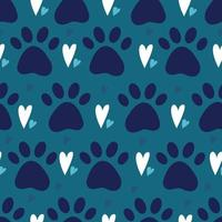 seamless pattern with dog or cat pet paw silhouette and hearts. Simple flat vector illustration background. Kitten or puppy trace. Backdrop for pet shop, breeder, pet adoption.