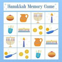 Memory Game with symbols of Jewish holiday Hanukkah, dreidel, donuts, oil jar, coins, latkes. Vector illustration.
