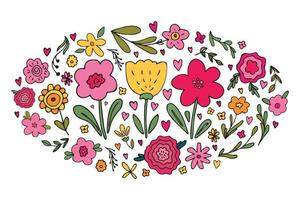Big set of various hand drawn simple floral doodles - flower, herb, branch, heart. Cute vector illustration of spring summer flowers in limited palette colors. Bright childish design element isolated.