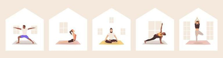 Set of multicultural people practicing yoga at home. Vector illustration