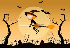 Witch on broom cartoon vector illustration. The witch flies over the cemetery. Halloween background, eps 10