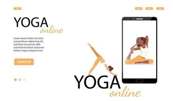 Vector banner or landing page for online yoga class on a smartphone. Vector illustration, eps 10