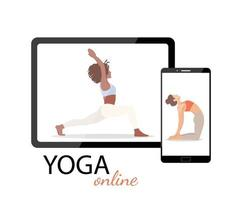 The concept of an online yoga class on a tablet or smartphone. Vector illustration