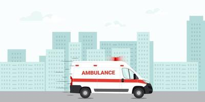 Ambulance emergency car driving on the road in the city. First aid car. Vector illustration.