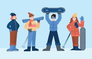 Winter Sport Character Set vector