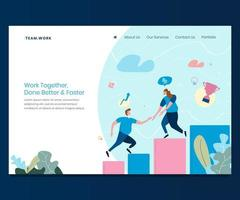 Landing page for Team Work vector