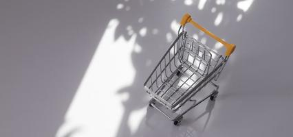 empty small shopping cart with nature hard shadows photo