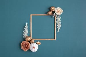 Autumn flat lay frame photo