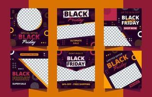 Black Friday Social Media Templates vector